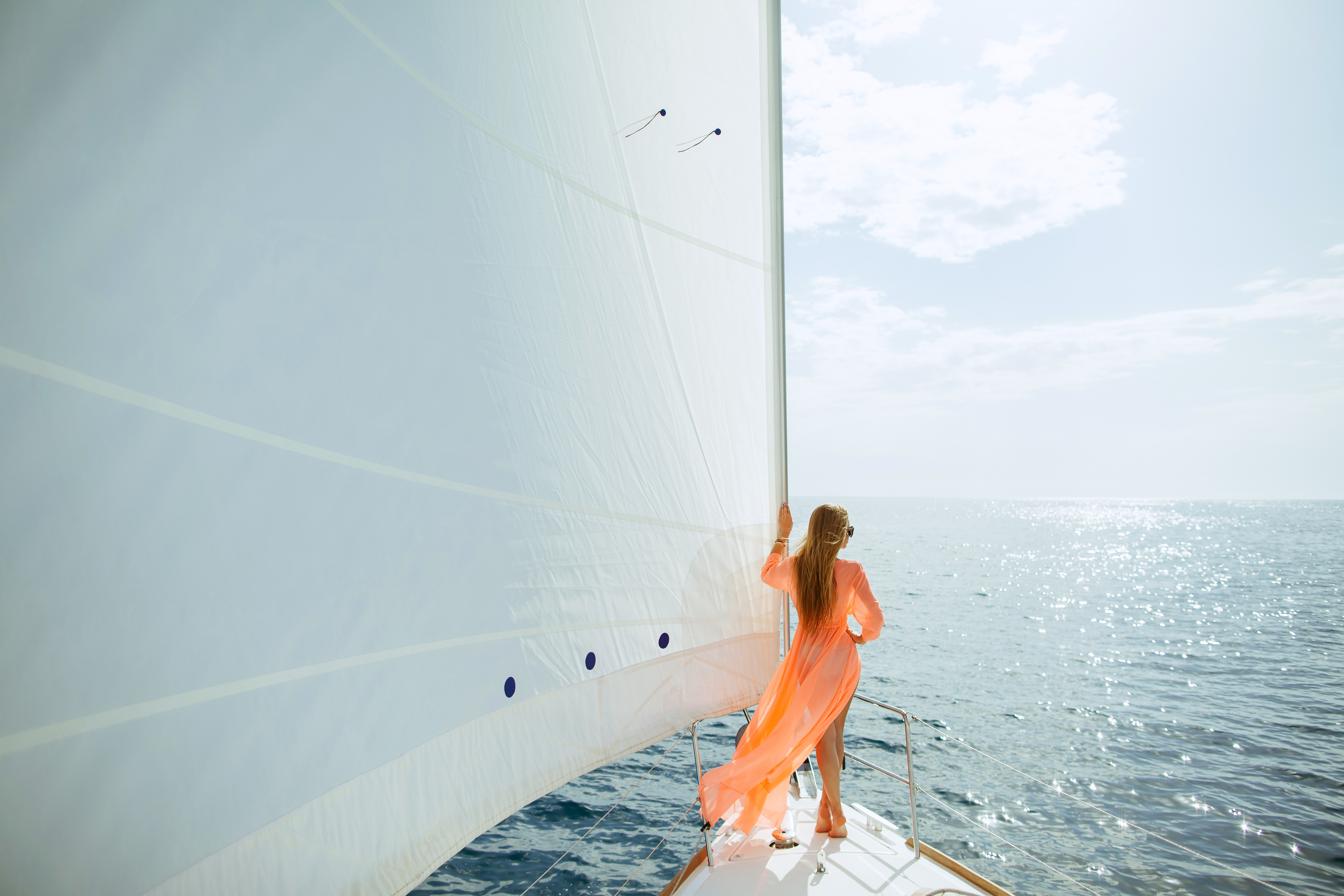 woman sailing on yacht
